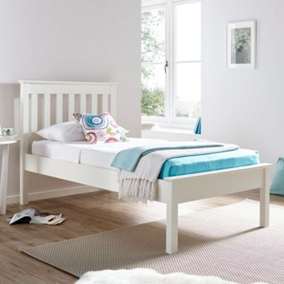 Happy Beds Grace Wood Low Foot End Bed with Open Coil Spring Mattress - White - 3ft Single