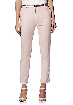 F&F Belted Slim Fit Trousers - Blush Pink