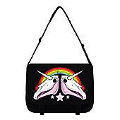 Unicorn Dreams Black Messenger Bag 38x33x11cm
