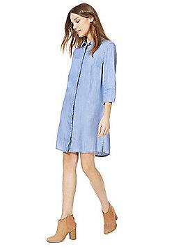 F&F Half Sleeve Tencel® Shirt Dress - Light wash