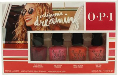 OPI California Dreaming Mini Gift Set 4 x 3.75ml Nail Polish in This Is Not Whine Country + Malibu Per Pressure + Santa Monica Beach Peach + Time for