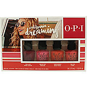 OPI California Dreaming Mini Gift Set 4 x 3.75ml Nail Polish in This Is Not Whine Country + Malibu Per Pressure + Santa Monica Beach Peach + Time for