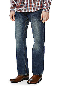 F&F Washed Loose Fit Jeans - Mid wash