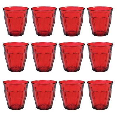 Duralex Picardie Coloured Water Tumbler Glasses - 250ml - Red - x12