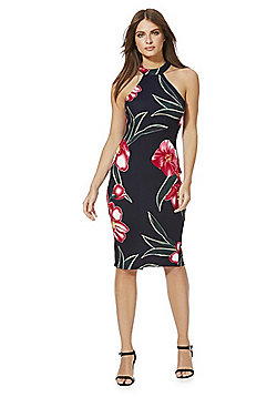 AX Paris Orchid Print Racerfront Bodycon Dress - Black Multi