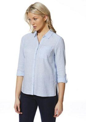F&F Striped Linen Shirt Blue 20