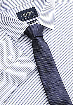 F&F Striped Easy Care Regular Fit Shirt with Tie - Purple
