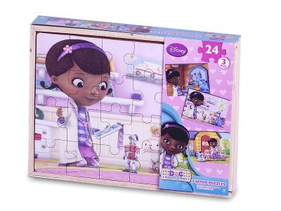 Disney Doc Mcstuffins 3 In a Box 24 Piece Jigsaw Puzzle Game