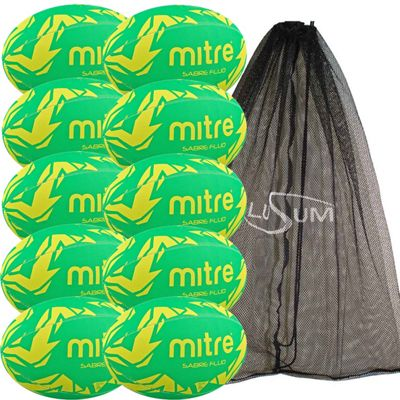 Mitre Sabre Rugby Ball 10 Pack with Mesh Bag Size 4 Green/Yellow