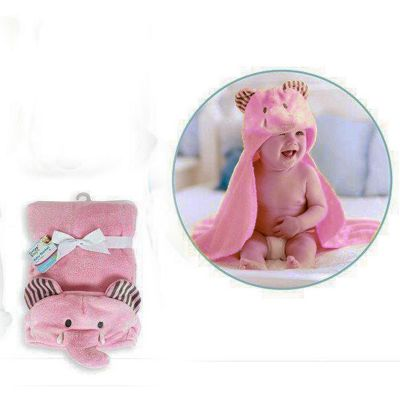 First Steps 3D Hooded Fleece Baby Blanket Pink Elephant