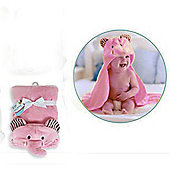 First Steps 3D Hooded Fleece Baby Blanket - Pink