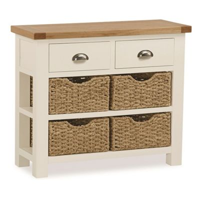 Daymer Cream Console Table with Baskets