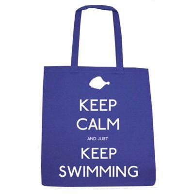 Keep Calm And Just Keep Swimming Tote Bag Royal Blue