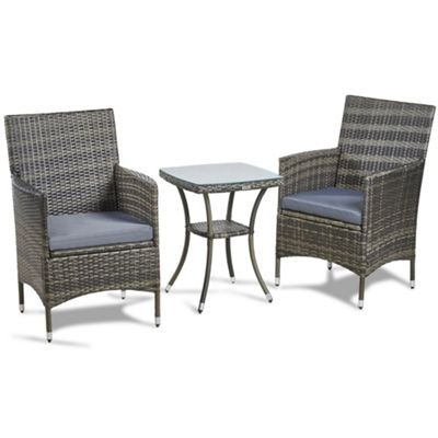 vonhaus 3 piece rattan dining set outdoor glass topped table 2 chairs for