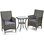 VonHaus 3 Piece Rattan Dining Set - Outdoor Glass-topped Table & 2 Chairs for Garden & Patio - Grey