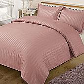 Dreamscene Satin Stripe Quilt Duvet Cover with Pillow Case Single Double King - Pink
