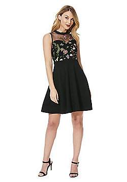 Mela London Wildflower Tulle Bodice Dress - Black