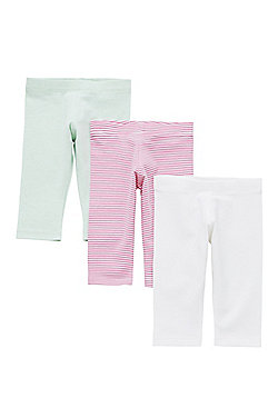 F&F 3 Pack of Striped, Plain and Marl Leggings with As New Technology - Multi