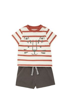 F&F Striped Tiger Print T-Shirt and Jersey Shorts Set Red/Brown 6-9 months