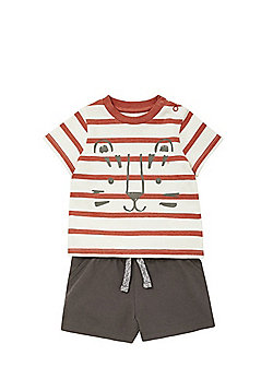 F&F Striped Tiger Print T-Shirt and Jersey Shorts Set - Red/Brown