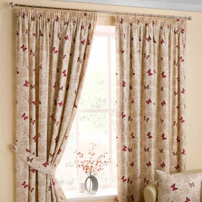 Homescapes Cotton Red Ready Made Curtain Pair Butterfly Design 66x72