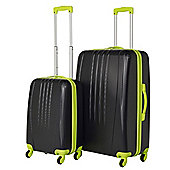 Swiss Case Luggage 4 Wheel Spinner Bold 2 Piece Abs Hard Shell Suitcase Set Black/Neon
