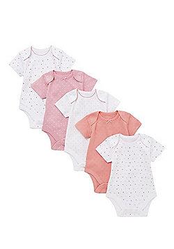 F&F 5 Pack of Polka Dot and Pointelle Short Sleeve Bodysuits - Multi