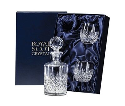 Edinburgh Crystal Whisky Decanter Set with Barrel Glasses from Royal Scot Crystal