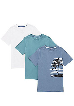 F&F 3 Pack of Palm Tree and Plain T-Shirts - Multi