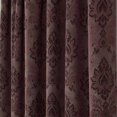 Homescapes Purple Jacquard Curtain Traditional Damask Design Fully Lined - 90