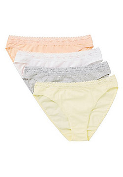 F&F 4 Pack of Lace Trim High Leg Briefs with As New Technology - Multi