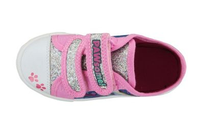 Paw Patrol Pink with Silver Glitter Hook and Loop Trainers UK Sizes 7
