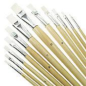 Value Brush Set White Taklon LH Flat 12 Pack