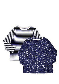 F&F 2 Pack of Star Print and Striped Long Sleeve T-Shirts - Navy