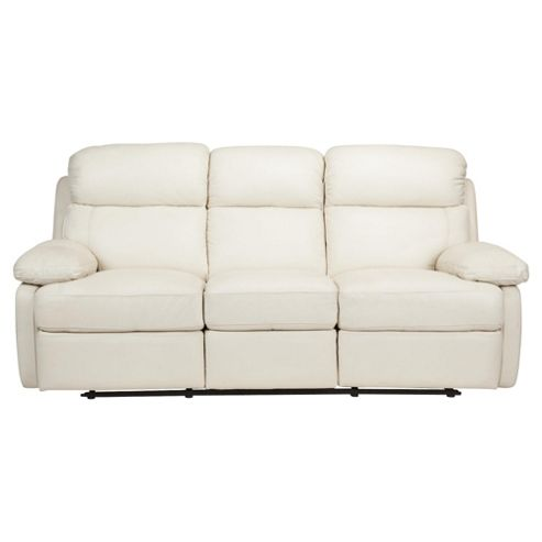 Cordova Leather Large Recliner Sofa Ivory