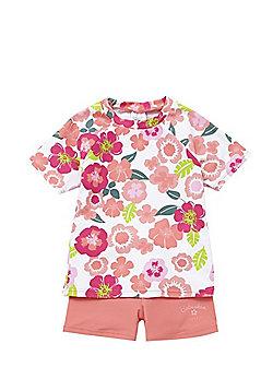 Babeskin Floral UPF 50+ Rash Vest and Shorts Set - Coral