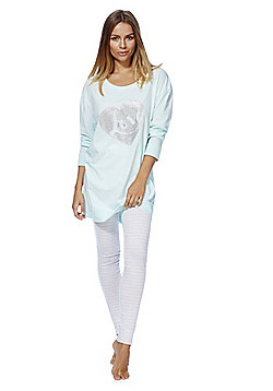 F&F Love Slogan Sparkly Heart Pyjamas - Blue & Silver