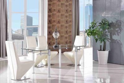 Verona Glass 120 - 180 cm Dining Table with 6 Ivory Rita Chairs