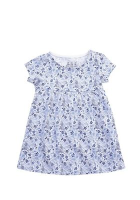 F&F Floral Print Smock Dress Blue/Multi 0-3 months