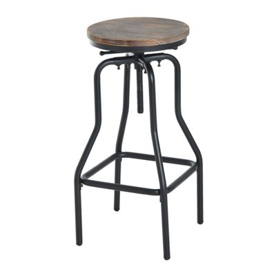 Homcom Vintage Industrial Bar Stool Height Adjustable Swivel Chair