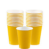 Yellow Cups - 266ml Paper Party Cups - 20 Pack