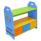 Kiddi Style Crayon Themed Kids Wooden 3 Tier Shelves & Boxes Set - Blue