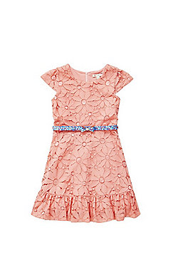 Yumi Girl Floral Lace Dress with Belt - Coral
