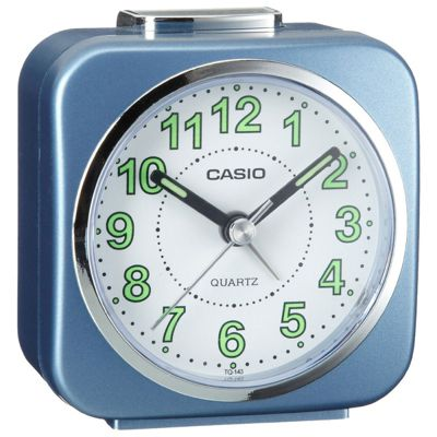 Casio TQ-143S-2EF Travel Quartz Analogue Luminous Bedside Snooze Alarm Clock - Blue