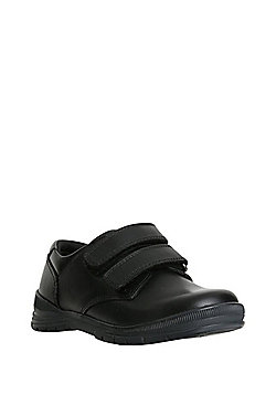 F&F Leather Riptape School Shoes - Black