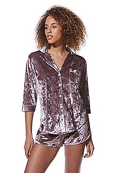 F&F Crushed Velvet Short Pyjamas - Pink