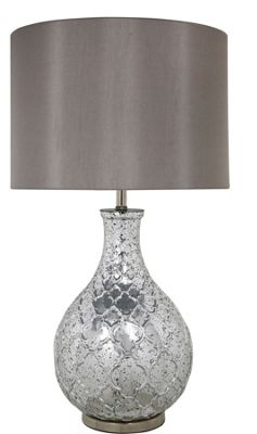 Silver Mercury Patterned Round Lamp With Taupe Shade