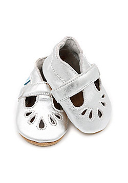 Dotty Fish Soft Leather Baby & Toddler Shoes – Girls Silver T-Bar Design - Silver