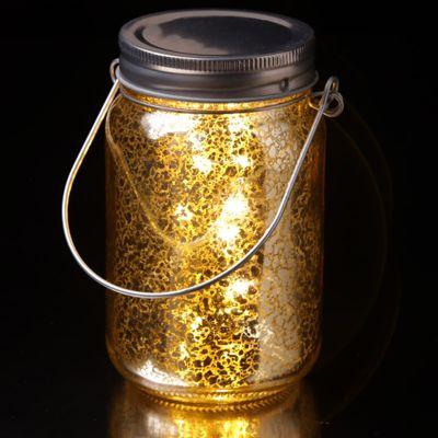 Puckator Metallic Glass LED Jar Light, Gold