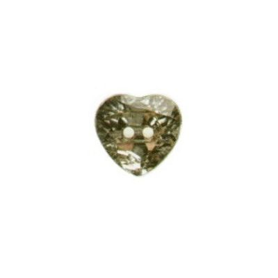 Hemline Clear Crystal Heart Buttons 16mm 4pk